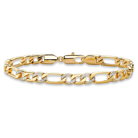 "Men's Diamond Accent Pave-Style Two-Tone Figaro-Link Bracelet with Lobster Clasp 14k Yellow Gold-Plated 8.5"" (7mm) at PalmBeach Jewelry"