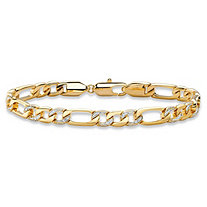 "Men's Diamond Accent Pave-Style Two-Tone Figaro-Link Bracelet with Lobster Clasp 14k Yellow Gold-Plated 8.5"" (7mm)"
