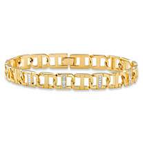 "Men's Diamond Accent Pave-Style Two-Tone Mariner-Link Bracelet 14k Yellow Gold-Plated 8.5"" (9.5mm)"