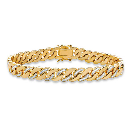Men's Diamond Accent Pave-Style Two-Tone Curb-Link Bracelet 14k Yellow Gold-Plated 8.5