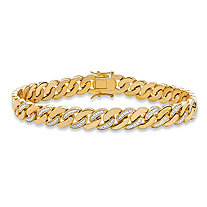 "Men's Diamond Accent Pave-Style Two-Tone Curb-Link Bracelet 14k Yellow Gold-Plated 8.5"" (9mm)"