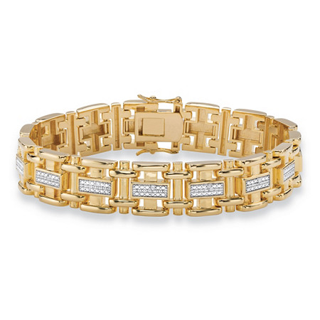"""Men's Diamond Accent Pave-Style Two-Tone Bar-Link Bracelet 14k Yellow Gold-Plated 8.5"""" at PalmBeach Jewelry"""