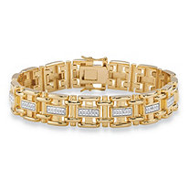 Men's Diamond Accent Pave-Style Two-Tone Bar-Link Bracelet 14k Yellow Gold-Plated 8.5""