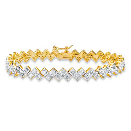 "Diamond Accent Pave-Style Two-Tone Geometric Bar-Link Tennis Bracelet 14k Yellow Gold-Plated 7.5"" at PalmBeach Jewelry"