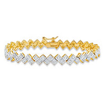 Diamond Accent Pave-Style Two-Tone Geometric Bar-Link Tennis Bracelet 14k Yellow Gold-Plated 7.5""