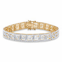 Diamond Accent Pave-Style Two-Tone Greek Key Tennis Bracelet 14k Yellow Gold-Plated 7.5""