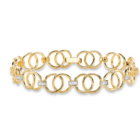 "Diamond Accent 14k Yellow Gold-Plated Circle and Bar-Link Bracelet 7.25"" at PalmBeach Jewelry"