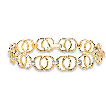 Diamond Accent 14k Yellow Gold-Plated Circle and Bar-Link Bracelet 7.25""