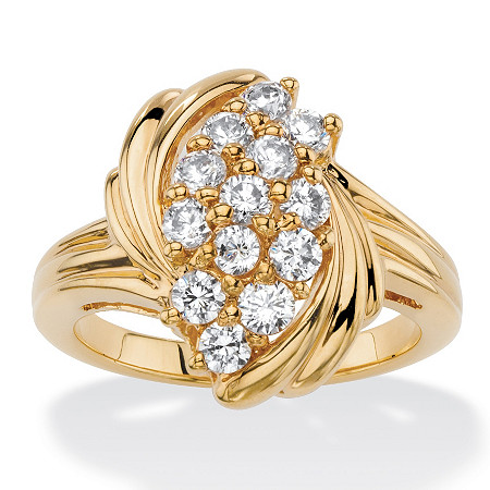 .94 TCW Round White Cubic Zirconia Cluster Wave Cocktail Ring 18k Yellow Gold-Plated at PalmBeach Jewelry