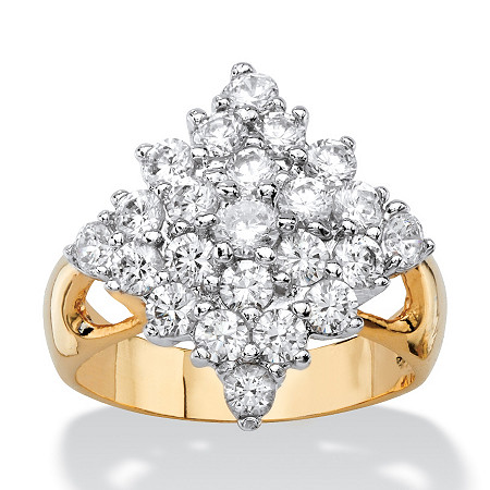 2.45 TCW Cubic Zirconia Diamond-Shaped Cluster Cocktail Ring 14k Yellow Gold-Plated at PalmBeach Jewelry