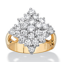 2.45 TCW Cubic Zirconia Diamond-Shaped Cluster Cocktail Ring 14k Yellow Gold-Plated