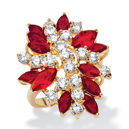 Marquise-Cut Simulated Red Ruby and White Cubic Zirconia Flower Cocktail Ring 6.90 TCW 18k Yellow Gold-Plated at PalmBeach Jewelry