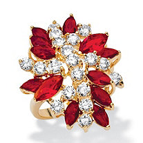1.90 TCW Marquise-Cut Simulated Red Ruby and White Cubic Zirconia Flower Cocktail Ring 18k Yellow Gold-Plated