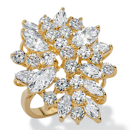 5.40 TCW Marquise-Cut and Round White Cubic Zirconia Cluster Cocktail Ring 18k Yellow Gold-Plated at PalmBeach Jewelry