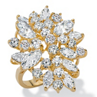 5.40 TCW Marquise-Cut And Round White Cubic Zirconia Cluster Cocktail Ring ONLY $32.55