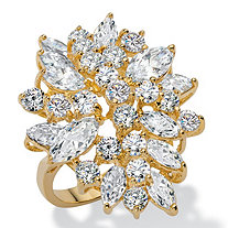 5.40 TCW Marquise-Cut and Round White Cubic Zirconia Cluster Cocktail Ring 18k Yellow Gold-Plated