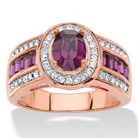 Oval-Cut Simulated Purple Amethyst Halo Cocktail Ring MADE WITH SWAROVSKI ELEMENTS Rose Gold-Plated at PalmBeach Jewelry