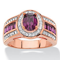 Oval-Cut Simulated Purple Amethyst Halo Cocktail Ring MADE WITH SWAROVSKI ELEMENTS Rose Gold-Plated