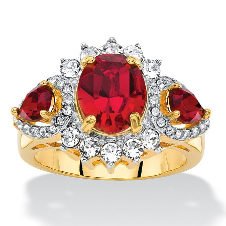 Oval-Cut Red and White Crystal Halo Cocktail Ring MADE WITH SWAROVSKI ELEMENTS 18k Yellow Gold-Plated at PalmBeach Jewelry