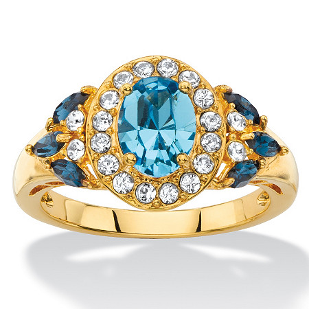 Oval-Cut Blue and White Crystal Halo Cocktail Ring MADE WITH SWAROVSKI ELEMENTS 18k Yellow Gold-Plated at PalmBeach Jewelry