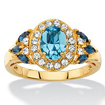 Oval-Cut Blue and White Crystal Halo Cocktail Ring MADE WITH SWAROVSKI ELEMENTS 18k Yellow Gold-Plated