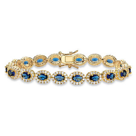 3.75 TCW Oval-Cut Simulated Blue Sapphire and Cubic Zirconia 14k Yellow Gold-Plated Halo Tennis Bracelet 7.25