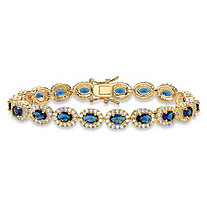 3.75 TCW Oval-Cut Simulated Blue Sapphire and Cubic Zirconia 14k Yellow Gold-Plated Halo Tennis Bracelet 7.25""