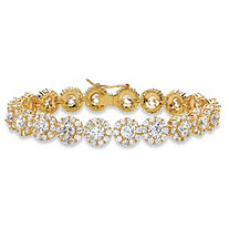 24 TCW Round and Pave White Cubic Zirconia 14k Yellow Gold-Plated Halo Tennis Bracelet 7.5""