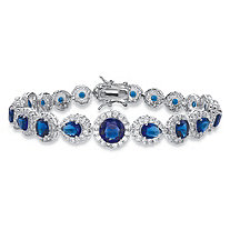 Round and Pear-Cut Simulated Blue Sapphire and Cubic Zirconia Halo Tennis Bracelet 19.01 TCW in Silvertone 7.5