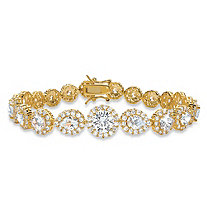 16.96 TCW Round and Pear-Cut Cubic Zirconia Halo Tennis Bracelet 18k Yellow Gold-Plated 7.5""