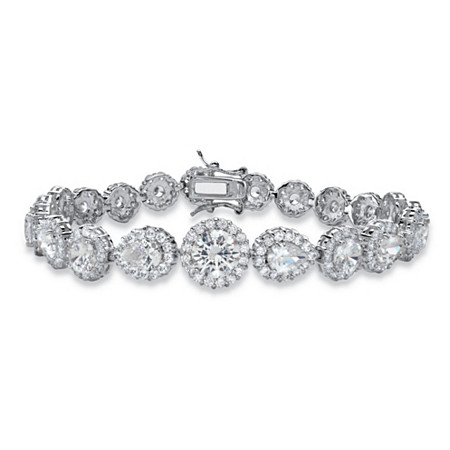 "16.96 TCW Round and Pear-Cut Cubic Zirconia Halo Tennis Bracelet Silvertone 7.5"" at PalmBeach Jewelry"