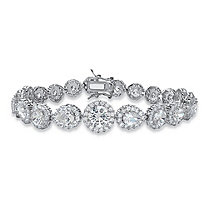 16.96 TCW Round and Pear-Cut Cubic Zirconia Halo Tennis Bracelet Silvertone 7.5""