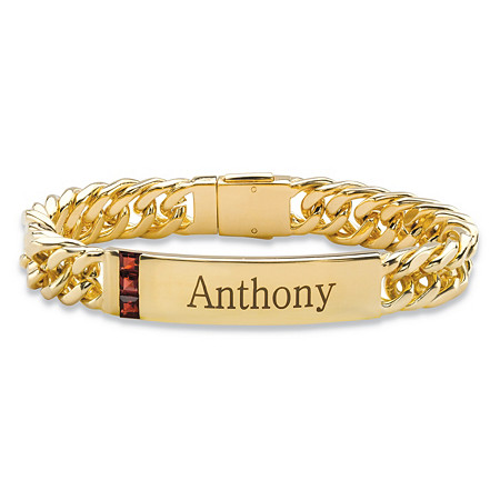 Men's 1.35 TCW Square-Cut Genuine Red Garnet Personalized I.D. Curb-Link Bracelet 14k Yellow Gold-Plated 8