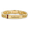 Related Item Men's 1.35 TCW Square-Cut Genuine Red Garnet Personalized I.D. Curb-Link Bracelet 14k Yellow Gold-Plated 8
