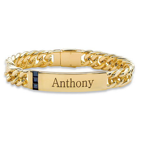 Men's 1.20 TCW Square-Cut Genuine Blue Sapphire Personalized I.D. Curb-Link Bracelet 14k Yellow Gold-Plated 8