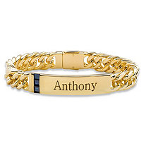 Men's 1.20 TCW Square-Cut Genuine Blue Sapphire Personalized I.D. Curb-Link Bracelet 14k Yellow Gold-Plated 8""