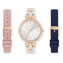 Adrienne Vittadini Crystal 3-Piece Fashion Watch Set with Leather, Rose Tone and Silvertone Interchangeable Bands Adjustable 8