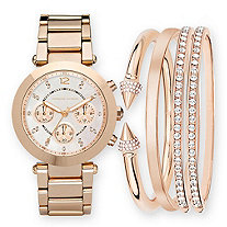 Adrienne Vittadini Crystal 5-Piece Fashion Watch with Silver Face and Stackable Hinged Bangle Set in Rose Gold Tone 7.5