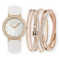 Adrienne Vittadini Mother-of-Pearl and Crystal 5-Piece Fashion Watch and Stackable Bangle Bracelet Set in Rose Gold Tone 7.5