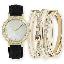 "Adrienne Vittadini Mother-of-Pearl and Crystal 5-Piece Fashion Watch and Stackable Bangle Set in Gold Tone 7.5""-9"""
