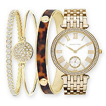 Adrienne Vittadini Crystal 4-Piece Fashion Watch and Stackable Bangle Bracelet Set in Gold Tone 7.5""