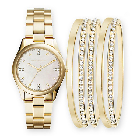 Adrienne Vittadini Mother-of-Pearl and Crystal 6-Piece Fashion Watch and Stackable  Bangle Bracelet Set in Gold Tone 7.5