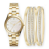Adrienne Vittadini Mother-of-Pearl and Crystal 6-Piece Fashion Watch and Stackable Bangle Bracelet Set in Gold Tone 7.5""