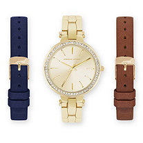 Adrienne Vittadini Crystal 3-Piece Interchangeable Fashion Watch Set in Gold Tone Adjustable 8""