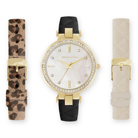Adrienne Vittadini Crystal and Mother-of-Pearl 3-Piece Interchangeable Fashion Watch Set in Gold Tone Adjustable 8