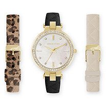 Adrienne Vittadini Crystal and Mother-of-Pearl 3-Piece Interchangeable Fashion Watch Set in Gold Tone Adjustable 8""