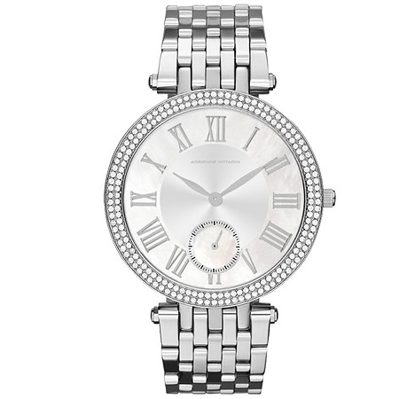 Adrienne Vittadini Crystal Fashion Watch with Silver Face in Silvertone 7.5