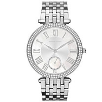 Adrienne Vittadini Crystal Fashion Watch with Silver Face in Silvertone 7.5""