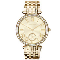 Adrienne Vittadini Crystal Fashion Watch with Silver Face in Gold Tone 7.5""