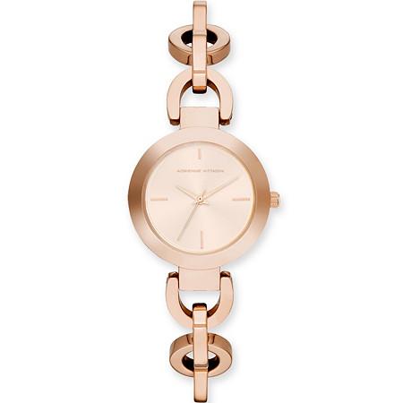 Adrienne Vittadini Rolo-Link Bracelet-Style Fashion Watch in Rose Gold Tone 7.5